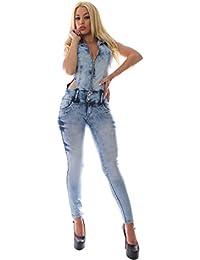 FARINA 1606 Monos vaqueros, jeans de mujer, Push up/Levanta cola, pantalones vaqueros elasticos colombian,color azul,talla 34-48/XS-3XL
