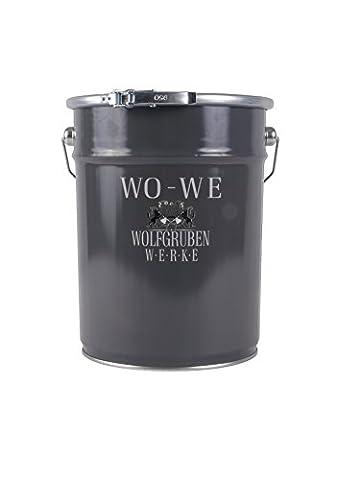 METALLLACK METALLFARBE BUNTLACK Typ Wolfgruben Werke (WO-WE) W900 als ROSTSCHUTZ Lack zum Korrosionsschutz von Metall Stahl Eisen Rohstahl / zuverlässiger Langzeit Anti Rost Schutz für Innen + Außen-Bereich / z.B. Tor, Zaun, Industrie Container / TÜV-GEPRÜFT / wetterbeständig / Licht-GRAU ähnl. RAL 7035 - 5 (Leichter Rost Matt)