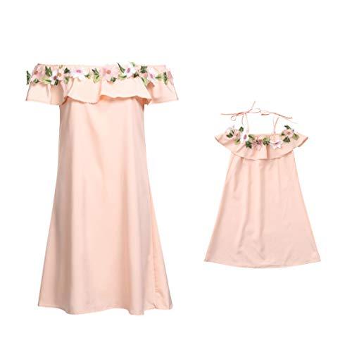 Mama Tochter Frauen Blume Schulterfrei Kleid Dame Familie Passende Kleidung, Kleinkind Baby Kinder Mädchen Floral Riemen Kleid Outfits Familie Kleidung ()
