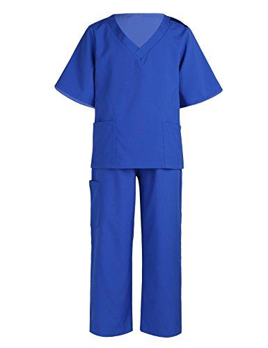 (dPois Unisex Kinder Arzt Kostüm Krankenschwester Tops+Hosen+Kappe Outfit Set Kleinkind Doctor Kostüm Arztkittel Kostüm Cosplay Karneval Fasching Halloween Party Blau 140-152/10-12 Jahre)