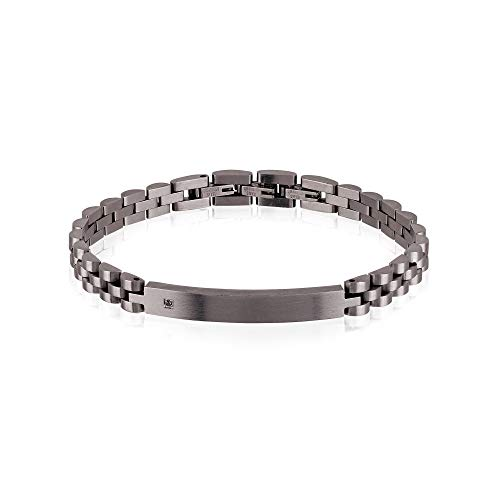 Gioiello breil collezione black diamond, bracciale da uomo in acciaio colorato colore silver misura 22,5cm con con pietre - tj2400