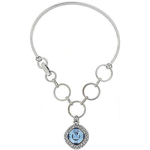 FJ1119 - PARK LANE Silberfarbenes Armband/Armspange mit himmelblauem Kristallamulett