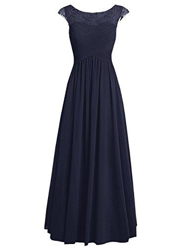 Dresstells Damen Bodenlang Chiffon Promi-Kleider Brautjungfernkleider Abendkleider Marineblau
