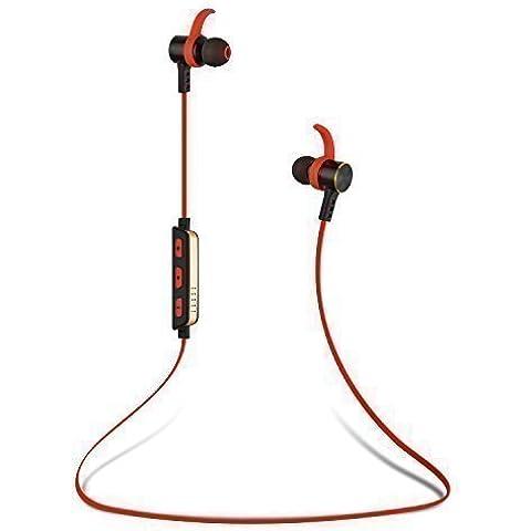 Top-Longer Bluetooth 4.0 para Correr Cascos Deportivos y Resistente al Agua y Audor. Auriculares con Tecnología aptX Avanzada para iPhone, iPad, Samsung, PC y otros Teléfonos Inteligentes(Rojo/Negro)