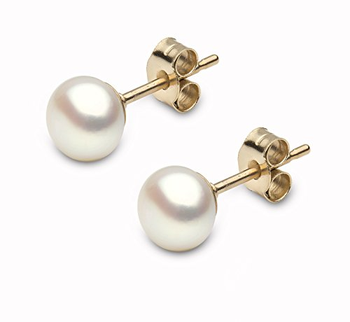 Kimura 6mm Cultured White Button Shape Freshwater Pearl Ear Studs 9ct Yellow Gold (Und Gold White Ohrringe Halskette)