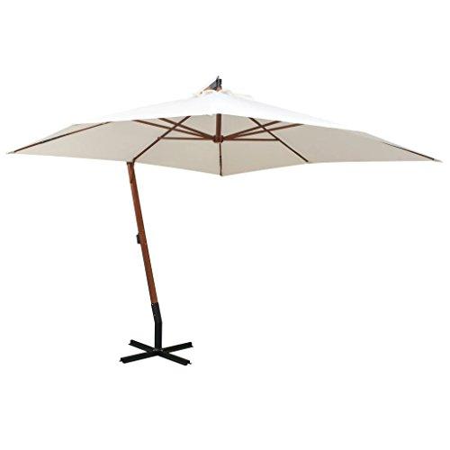 Festnight ombrellone pensile parasole regolabile 350 cm/ 300 cm palo in legno bianco/verde