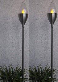 BUVTEC 2er-LED-Solar-Gartenfackel-Set \'Chiemsee\', geschlossen, Edelstahl, ca.115 cm x 8 cm 1 Amber LED, mit Solarpanel, incl. Akku, Outdoor, Glas geschlossen, Winterfest
