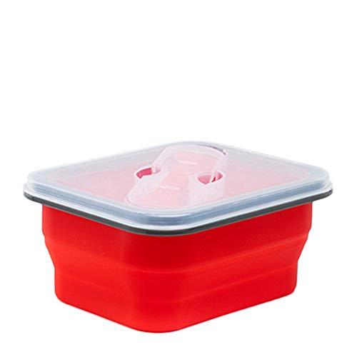 Ouneed - Silikon Frischhaltedosen, Silikon zusammenklappbaren Container Faltbare Vorratsdosen Set PA-Frei Lunchbox Bentobox mit Deckel, Geeignet für Mikrowelle, Gefrierschrank und Spülmaschine (Rot)
