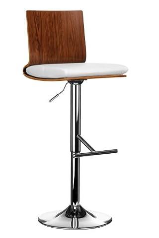 Premier Housewares Walnut Wood and Leather Effect Bar Chair - 102 x 41 x 46 cm, White