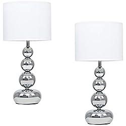 MiniSun - Set de 2 lámparas de mesa táctiles 'Marissa' - De esferas apiladas en cromo pulido - Pantallas blancas de estilo seda
