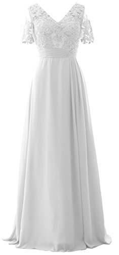 MACloth Elegant V Neck Mother of the Bride Dress Half Sleeve Formal Evening Gown white