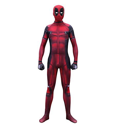 (GanSouy Marvel Deadpool Kostüm Erwachsene Kinder Halloween Cosplay Body Bodysuit Spandex Overalls Cosplay Deadpool Kostüm,Deadpool-L)