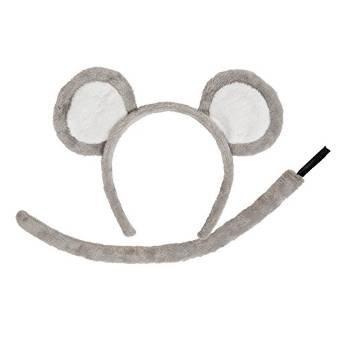 Adult-Animal-Ears-Tail-Set-Grey-Mouse-Fancy-Dress-Accessory-Plush-Halloween