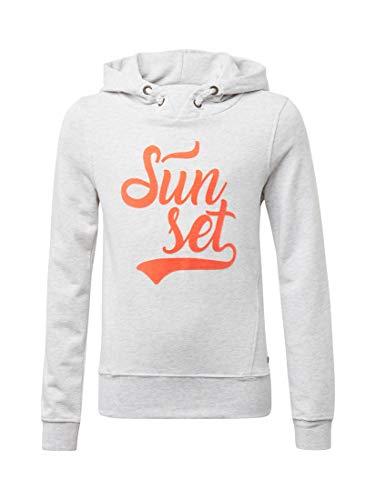 TOM TAILOR Kids Mädchen Kapuzenpullover Sweatshirt Placed Print Beige (Lunar Rock Melange 8439), Herstellergröße: 152 -