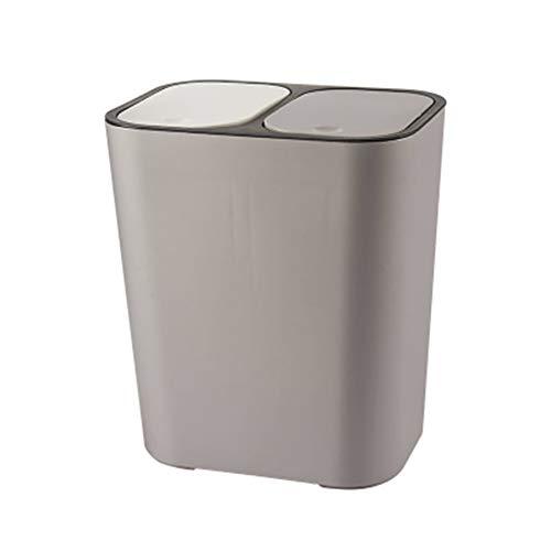 HOWNY Abfalleimer Rechteckiger Kunststoff-Druckknopf mit Zwei Fächern 12 Liter Recycling-Abfalleimer Mülleimer Abfalleimer