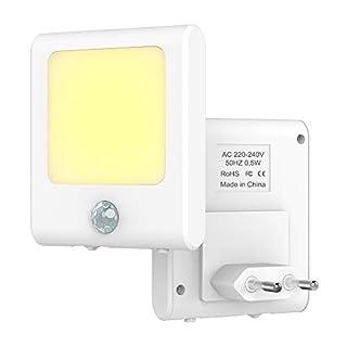 Babyliya Steckdose LED Nachtlicht mit Bewegungssensor, Energieeffizient Warmweiß Lichter mit Bewegungsmelder Lampen für Flur, Küche, Treppe, Garage, Keller, Wohnzimmer, 2 Stück