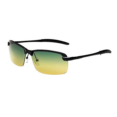 AMZTM Rechteckig Polarisiert Ultraleicht Sonnenbrille für Herren, Sport Angeln Fahren Draussen Brille, HD Linse Metallrahmen Treiber Glasses(Schwarz Rahmen, Gelb-grün Linse/Tag-Nacht-Nutzung)