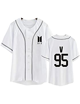 DJS KPOP BTS Camiseta Uniforme de Béisbol All Member Name Camiseta de Béisbol de Impresión para Verano Camiseta...