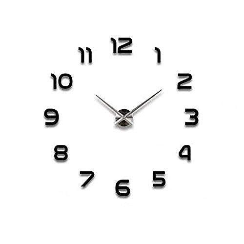 Moderno fai da te grande parete 3d orologio con i numeri arabi murales adesivi per casa soggiorno camera da letto hotel ristorante ufficio nero