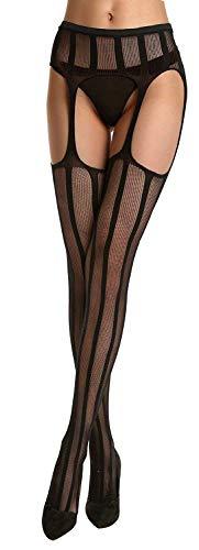 (HO-Ersoka Damen Straps-Strumpfhose fishnet längs gestreift schwarz onesize)