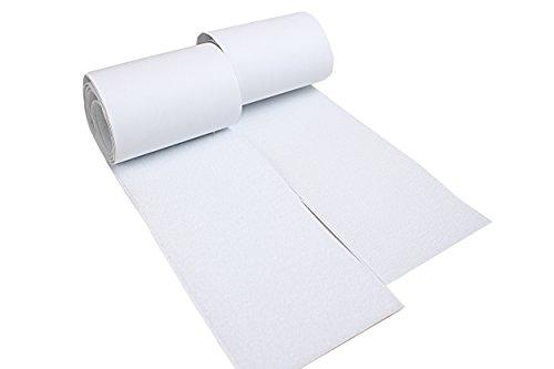 tukan-tex-de Klettband Selbstklebend 1 Meter Lang, 10 cm Breit, Extra Stark Haftkraft Selbstklebend Klebepad Flauschband Hakenband ... (Weiß, 1 lfm)