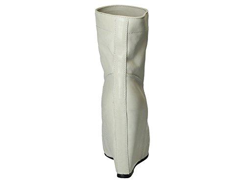 Bottines compensée Rick Owens en cuir blanc cassé - Code modèle: RP 3802 LBO 0008 Blanc
