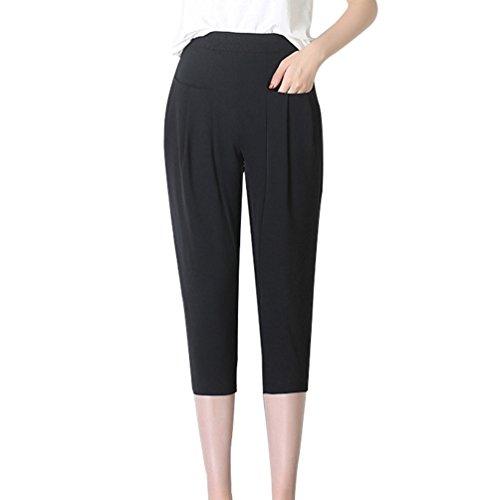 Dexinx Damen Elegante Schlanke Overknee Shorts mit Taschen Sommer Reine Farbe Weiche Elastische Taille Geerntete Hose Schwarz 3XL (Das Leben Ist Gut Lounge-hose)