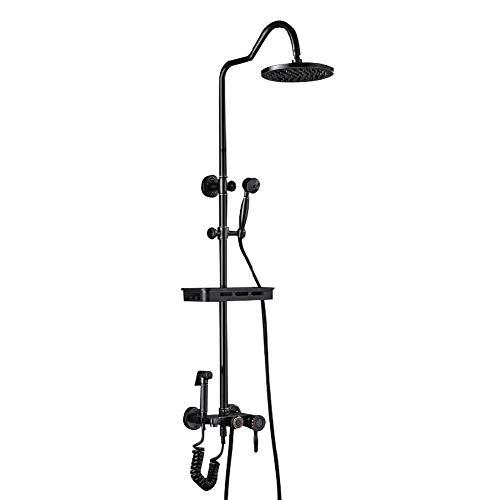 Kutera Duschsystem Kupfer Duscharmatur Duschkopf Elliptische schwarze Taste Handbrause Drei-Wege-Dusche (Drei-tasten-anzug)