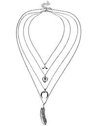 LUREME Retro étnica Collar de Cadena Larga de múltiples Capas con Anclajes de Elefante de Hoja para Mujeres (nl006190)