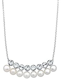 Elli Damen Perlenkette 925 Silber mit Swarovski Kristallen im Brillantschliff Süßwasserzuchtperle Weiß 45 cm - 0112350414_45