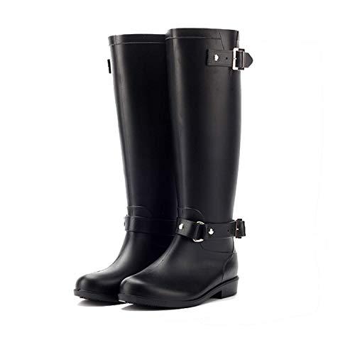 AONEGOLD Botas de Agua Mujer Lluvia Altas Zapato Impermeables Ajustable Cremallera y Hebilla Goma Botas Wellington(Negro 1,38 EU)