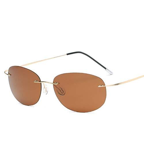 CHJKMN Titan polarisierte Sonnenbrille Runde randlose Men Square Sonnenbrille Sonnenbrille für Männer, Frauen