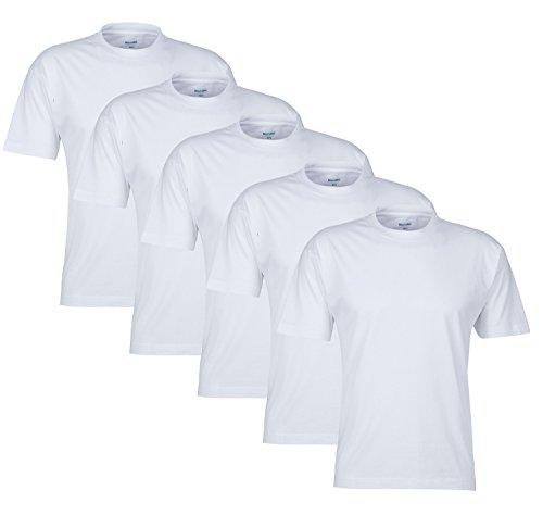 Günstige Herren T-Shirt Sets 100% Baumwolle Original Mioralini Markenware T-Shirts für den Herren, Man, Men sehr bequemGr. , () 5 Rundhals T-Shirt Weiss