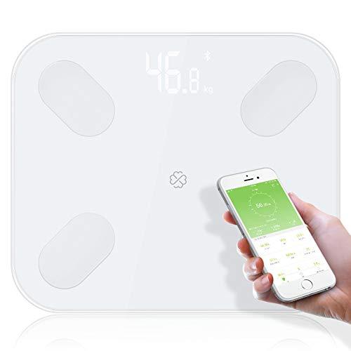 Hongge Bilancia Pesapersone Digitale, Bilancia Intelligente Bluetooth con Ampia E Moderna Piattaforma in Vetro Misure del Peso del Corpo, Grasso Corporeo, BMI, Acqua, Massa Muscolare, ECC.