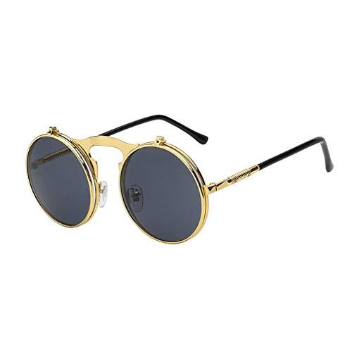 Lidahaotin Mode Flip Up Steampunk-Sonnenbrille-Männer runde Weinlese-Männer Sunglass Driving Piloten Brille Sunproof UV400#3