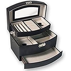 Dakota Joyero automático de Piel y Terciopelo con Varios departametos. con Espejo y Cierre de Seguridad con Llave. Marrón 1 Unidad