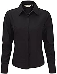 Russell Collection Langarm Business-Bluse aus Tencel® R-952F-0