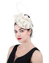 Fengbingl Cappellino a Forma di Cappello da Sposa in Pizzo da Sposa  Fascinator Copricapo del Kentucky 376156ae72b9