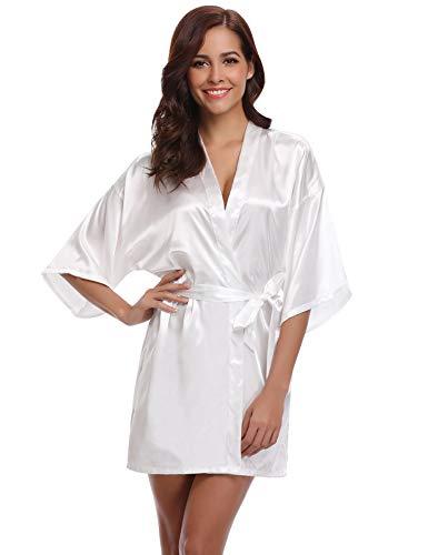 Aibrou Damen Morgenmantel Kimono Satin Kurz Robe Bademantel Nachtwäsche Sleepwear V Ausschnitt mit Gürtel (Small, Weiß-Neu) (Damen Bademäntel Knie-länge)