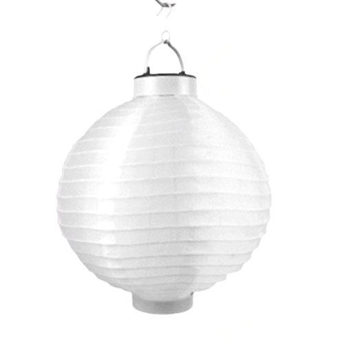 LED Lampion 6 Farben Ø 20 cm - Party- und Gartenlaterne - (Weiß) (Stoff-farben-licht 6)