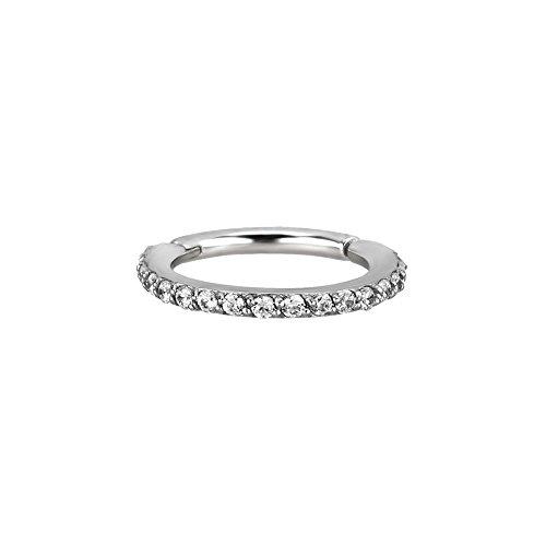 Trend Agent SEGMENTRING Clicker mit Echten Swarovski Kristallen 1.2 x 8 mm | Silber | Klar |