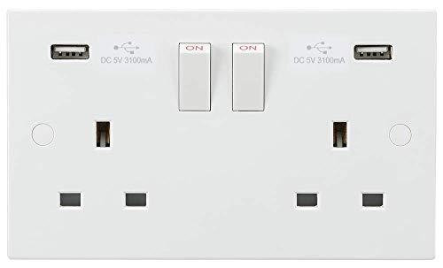 Enchufe conmutado de 13 A 2 G con doble cargador USB 5...