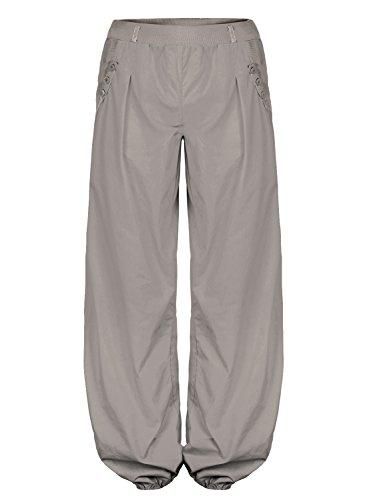 BAISHENGGT - Femme Pantalon bouffant Elastique Extensible palazzo Casual Sarouels Poche SANS CEINTURE Gris Medium