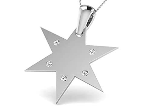 14 Ct White Gold Star Shaped Diamond Necklace, 0.06 ct diamond, GH-SI, 0.83 grammes.