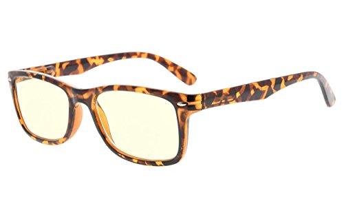 rille,UV Schutz,Blendschutz,Anti-Reflex Computer,Brillen (Schildkröte, Gelb getönte Gläser) (Gelbe Gläser)