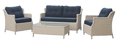 Conjunto de muebles jardín ratán - Classic. Elegant. Cómodo. De alta calidad - color blanco - Estructura de aluminio - 10 cm almohadón - muebles terraza en poly ratán - lounge set