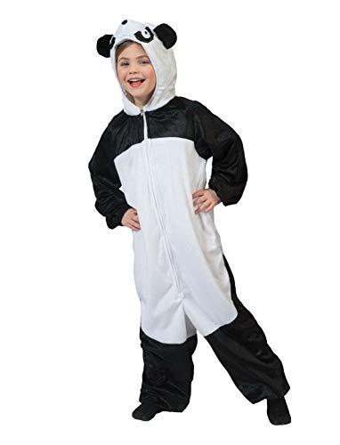 costumebakery - Kinder Jungen Mädchen Kostüm Plüsch Panda Bär Bear Fell Einteiler Onesie Overall Jumpsuit, perfekt für Karneval, Fasching und Fastnacht, 164, Schwarz