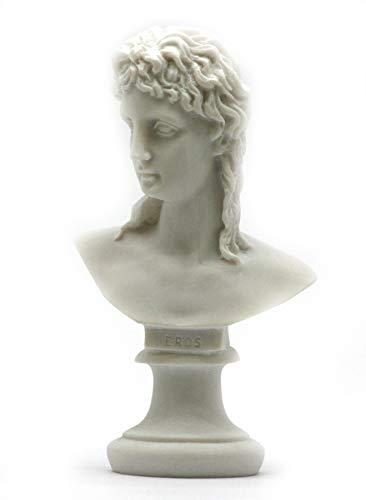 Dios griego Eros Cupido hijo de Afrodita Busto Estatua Escultura de alabastro 5.7΄ ΄