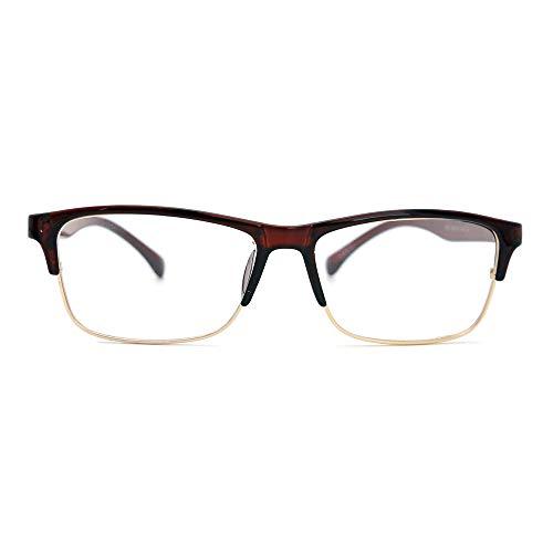 Natwve & Co Sport Optischen Rahmen Vintage Retro Rechteck Brillenfassungen Halbrand Männer Brille (821) (Braun)