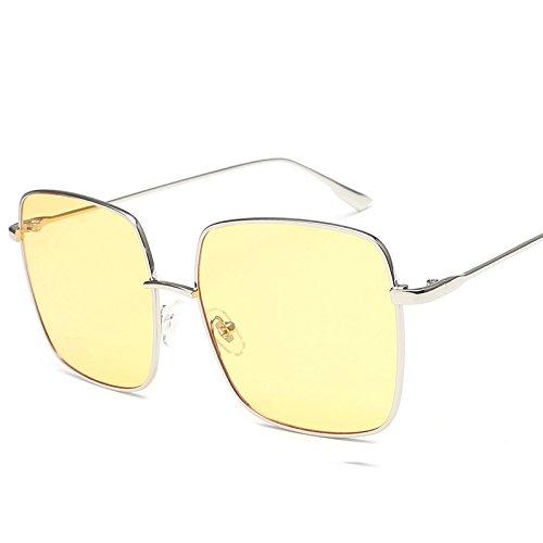 Llztyj occhiali da sole/vento/parasole/spiaggia/all'aperto/compleanno/regali/san valentino/occhiali/occhiali da sole/donna tondo viso occhiali da sole da donna, mensola argento giallo (scatola + panno)